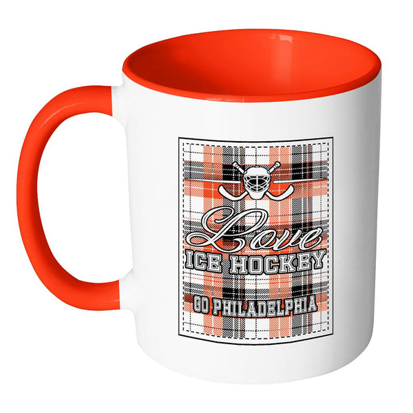 Love Hockey Go Philadelphia Fan Gifts Checkered Plaid Cool 11oz 7Colors Mug-NeatFind.net