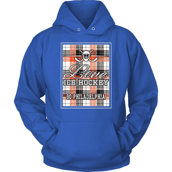 Love Hockey Go Philadelphia Fan Gifts Checkered Plaid Cool Unisex Hoodie-NeatFind.net