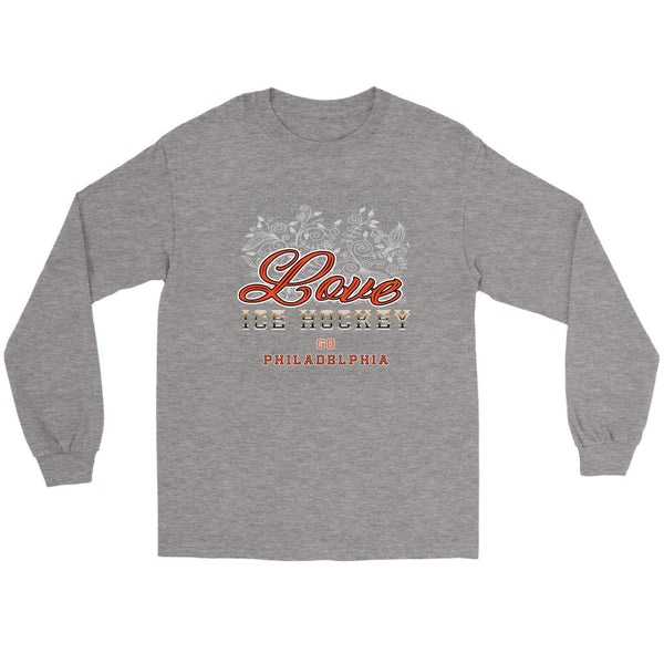 Love Hockey Go Philadelphia Fan Gifts Diamond Plate Cool Long Sleeve TShirt-NeatFind.net