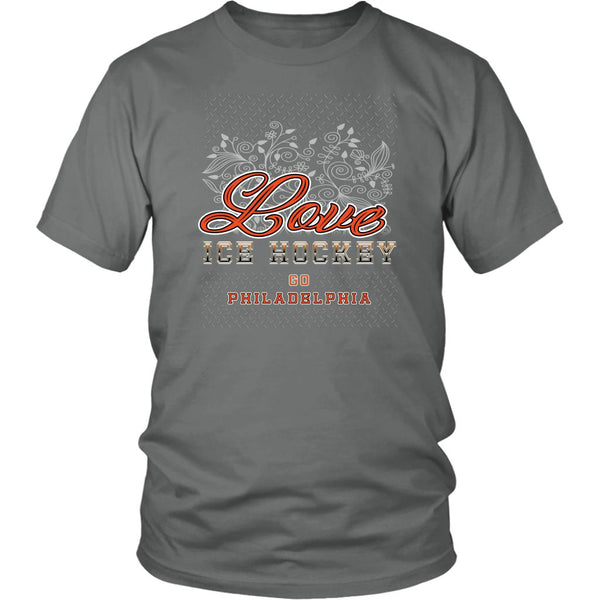 Love Hockey Go Philadelphia Fan Gifts Diamond Plate Cool Unisex TShirt Men-NeatFind.net