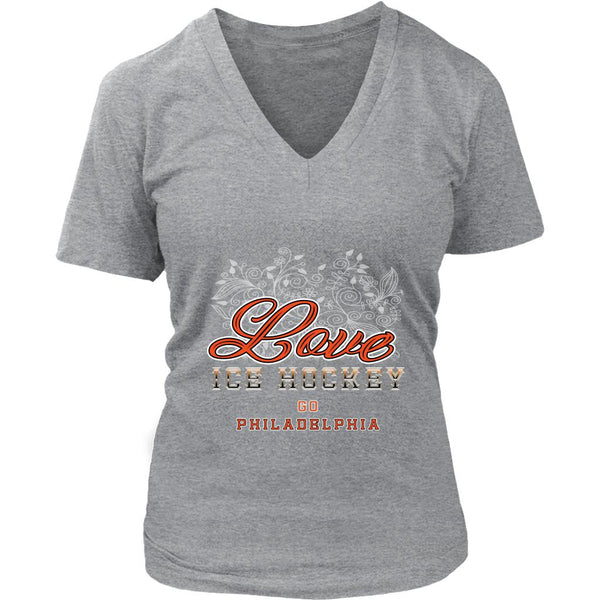 Love Hockey Go Philadelphia Fan Gifts Diamond Plate V-Neck T-Shirts For Women-NeatFind.net