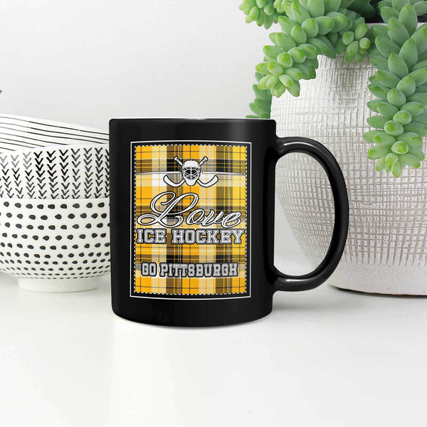 Love Hockey Go Pittsburgh Fan Gifts Checkered Plaid Cool Black 11oz Coffee Mug-NeatFind.net