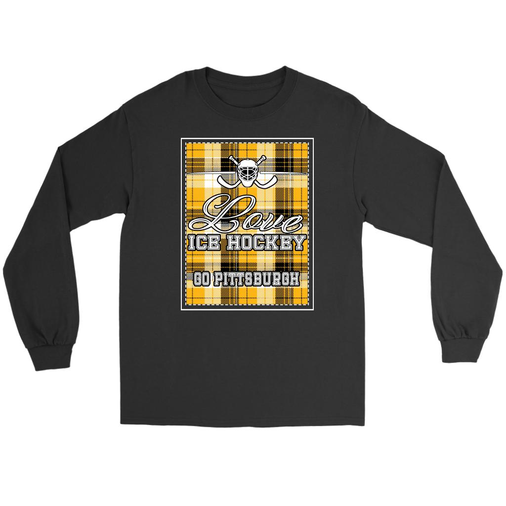Love Hockey Go Pittsburgh Fan Gifts Checkered Plaid Cool Long Sleeve TShirt-NeatFind.net