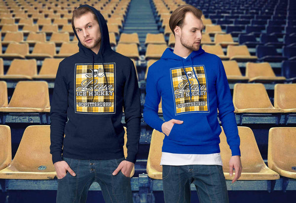 Love Hockey Go Pittsburgh Fan Gifts Checkered Plaid Cool Unisex Hoodie-NeatFind.net