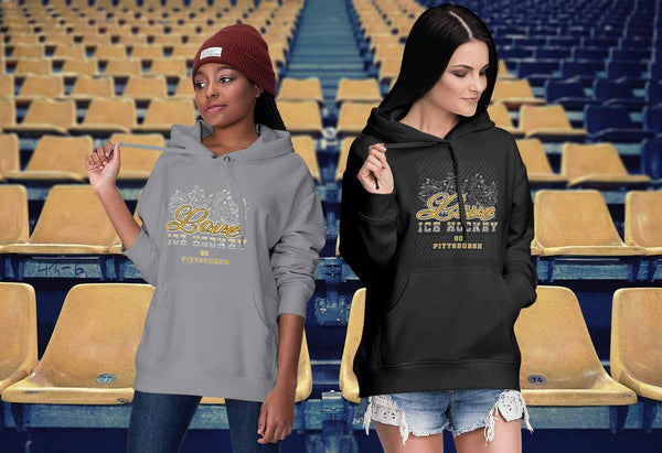 Love Hockey Go Pittsburgh Fan Gifts Diamond Plate Cool Unisex Hoodie-NeatFind.net