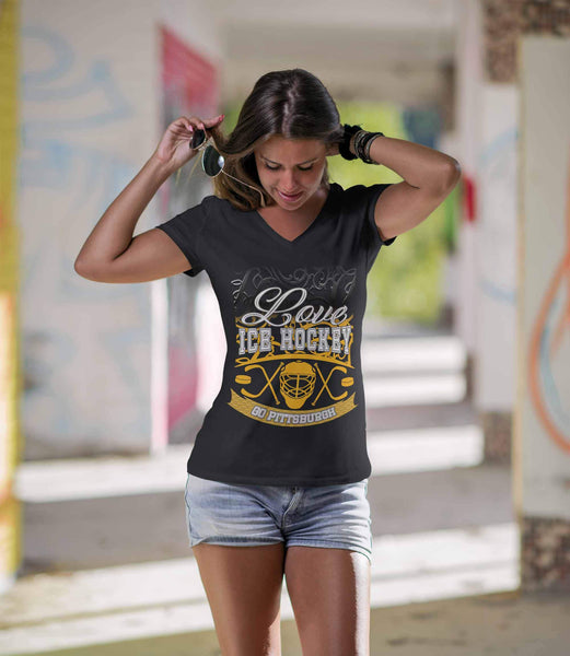 Love Hockey Go Pittsburgh Fan Gifts Gradient Vine V-Neck T-Shirts For Women-NeatFind.net