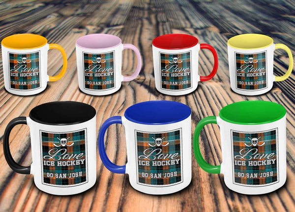 Love Hockey Go San Jose Fan Gifts Checkered Plaid Cool 11oz 7Colors Mug-NeatFind.net