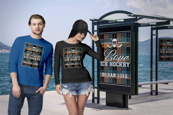 Love Hockey Go San Jose Fan Gifts Checkered Plaid Cool Long Sleeve TShirt-NeatFind.net