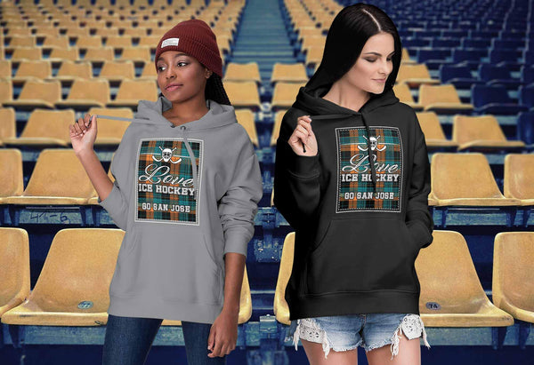 Love Hockey Go San Jose Fan Gifts Checkered Plaid Cool Unisex Hoodie-NeatFind.net