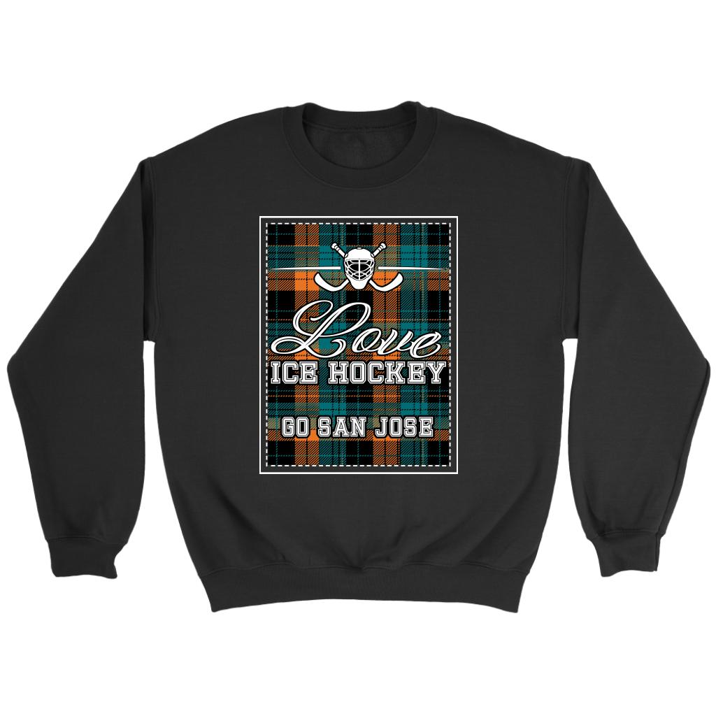 Love Hockey Go San Jose Fan Gifts Checkered Plaid Unisex Sweaters Sweatshirt-NeatFind.net