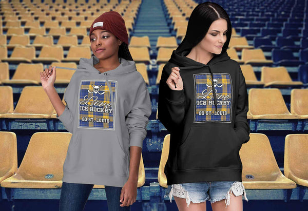 Love Hockey Go St. Louis Fan Gifts Checkered Plaid Cool Unisex Hoodie-NeatFind.net