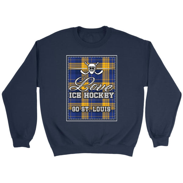 Love Hockey Go St. Louis Fan Gifts Checkered Plaid Unisex Sweaters Sweatshirt-NeatFind.net
