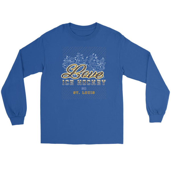 Love Hockey Go St. Louis Fan Gifts Diamond Plate Cool Long Sleeve TShirt-NeatFind.net