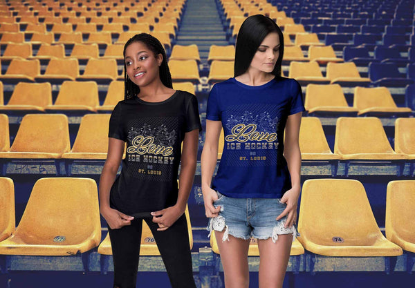 Love Hockey Go St. Louis Fan Gifts Diamond Plate Cool T-Shirts For Women-NeatFind.net