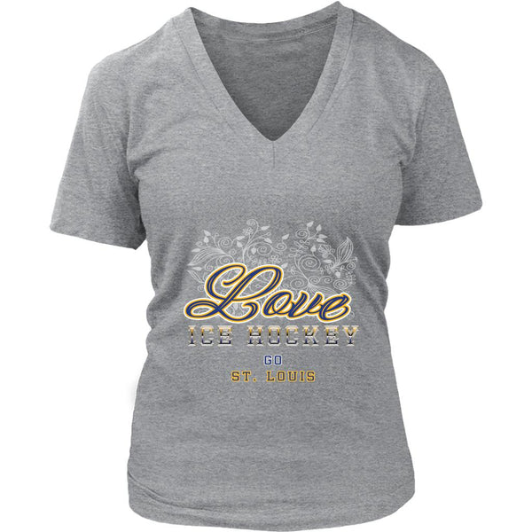 Love Hockey Go St. Louis Fan Gifts Diamond Plate V-Neck T-Shirts For Women-NeatFind.net