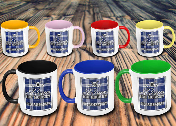 Love Hockey Go Tampa Bay Fan Gifts Checkered Plaid Cool 11oz 7Colors Mug-NeatFind.net