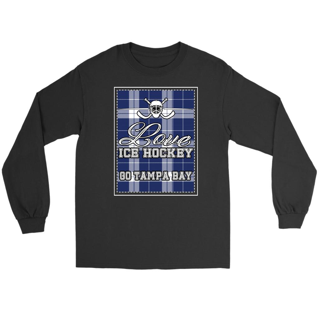 Love Hockey Go Tampa Bay Fan Gifts Checkered Plaid Cool Long Sleeve TShirt-NeatFind.net