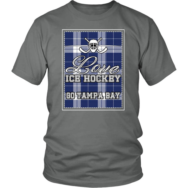 Love Hockey Go Tampa Bay Fan Gifts Checkered Plaid Cool Unisex TShirt Men-NeatFind.net