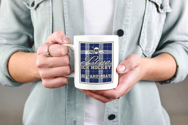 Love Hockey Go Tampa Bay Fan Gifts Checkered Plaid Cool White 11oz Coffee Mug-NeatFind.net