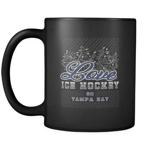Love Hockey Go Tampa Bay Fan Gifts Diamond Plate Cool Black 11oz Coffee Mug-NeatFind.net