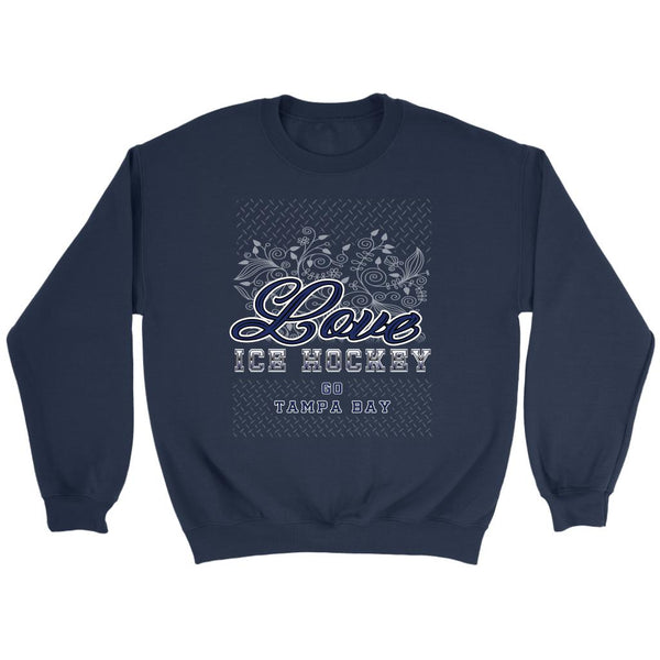 Love Hockey Go Tampa Bay Fan Gifts Diamond Plate Unisex Sweaters Sweatshirt-NeatFind.net