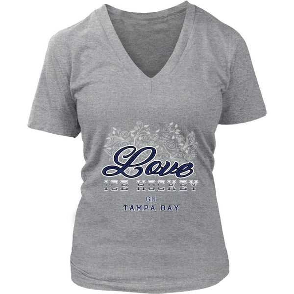 Love Hockey Go Tampa Bay Fan Gifts Diamond Plate V-Neck T-Shirts For Women-NeatFind.net