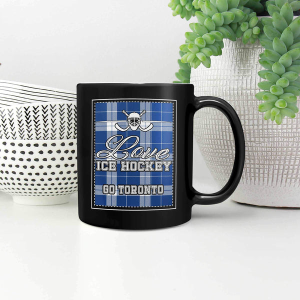 Love Hockey Go Toronto Fan Gifts Checkered Plaid Cool Black 11oz Coffee Mug-NeatFind.net