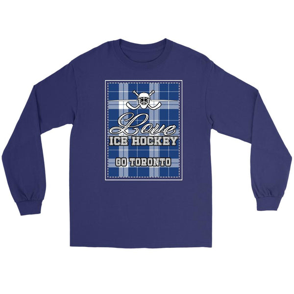 Love Hockey Go Toronto Fan Gifts Checkered Plaid Cool Long Sleeve TShirt-NeatFind.net