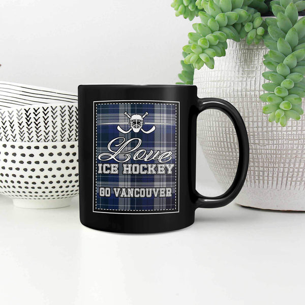 Love Hockey Go Vancouver Fan Gifts Checkered Plaid Cool Black 11oz Coffee Mug-NeatFind.net