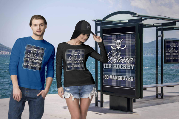 Love Hockey Go Vancouver Fan Gifts Checkered Plaid Cool Long Sleeve TShirt-NeatFind.net