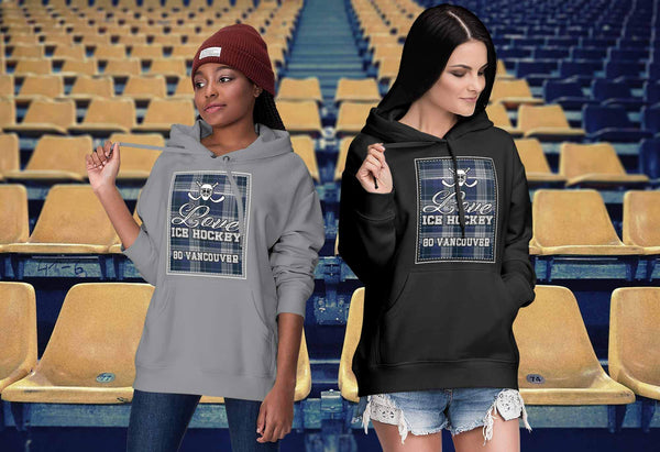 Love Hockey Go Vancouver Fan Gifts Checkered Plaid Cool Unisex Hoodie-NeatFind.net