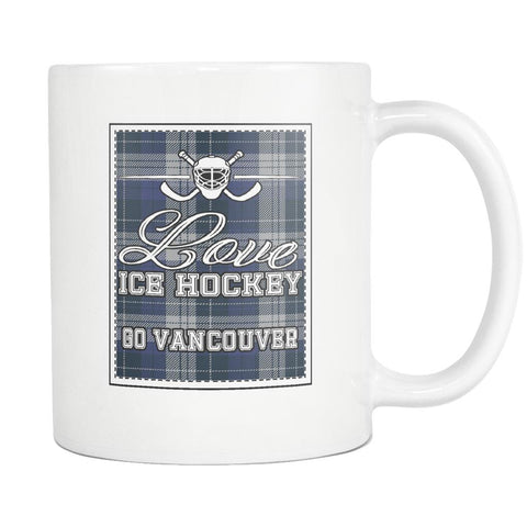 Love Hockey Go Vancouver Fan Gifts Checkered Plaid Cool White 11oz Coffee Mug-NeatFind.net