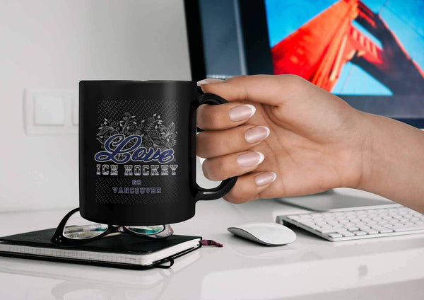Love Hockey Go Vancouver Fan Gifts Diamond Plate Cool Black 11oz Coffee Mug-NeatFind.net