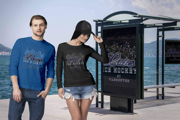 Love Hockey Go Vancouver Fan Gifts Diamond Plate Cool Long Sleeve TShirt-NeatFind.net