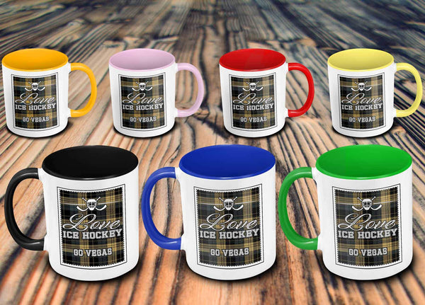 Love Hockey Go Vegas Fan Gifts Checkered Plaid Cool 11oz 7Colors Mug-NeatFind.net