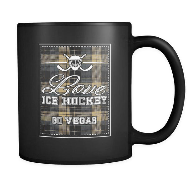 Love Hockey Go Vegas Fan Gifts Checkered Plaid Cool Black 11oz Coffee Mug-NeatFind.net