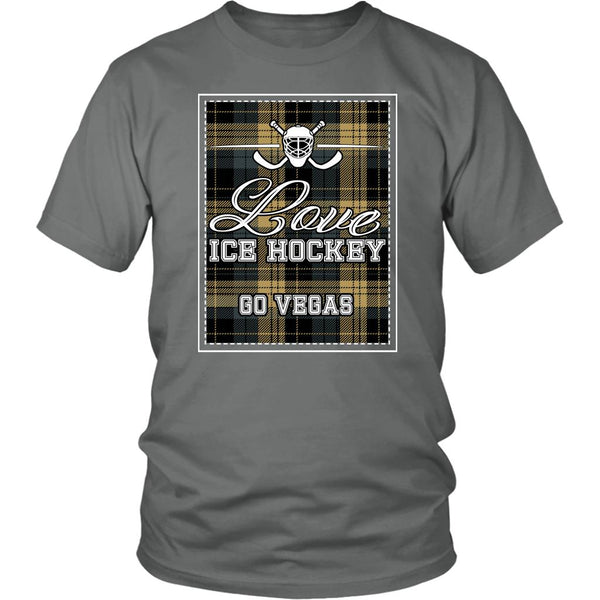 Love Hockey Go Vegas Fan Gifts Checkered Plaid Cool Unisex TShirt Men-NeatFind.net