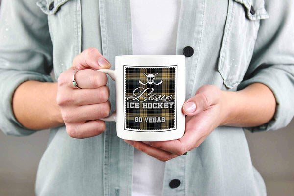 Love Hockey Go Vegas Fan Gifts Checkered Plaid Cool White 11oz Coffee Mug-NeatFind.net
