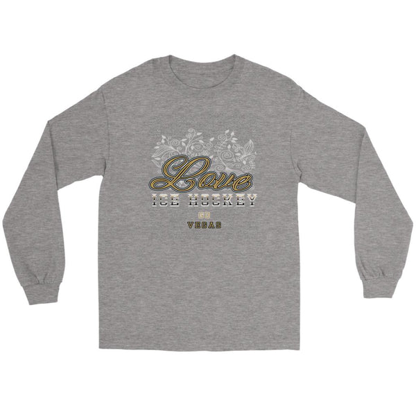 Love Hockey Go Vegas Fan Gifts Diamond Plate Cool Long Sleeve TShirt-NeatFind.net