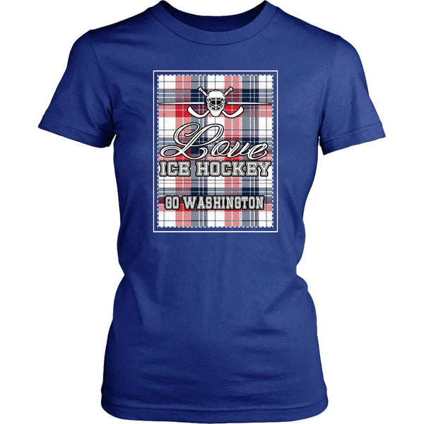 Love Hockey Go Washington Fan Gifts Checkered Plaid Cool T-Shirts For Women-NeatFind.net