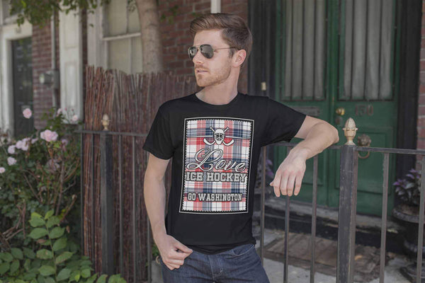 Love Hockey Go Washington Fan Gifts Checkered Plaid Cool Unisex TShirt Men-NeatFind.net