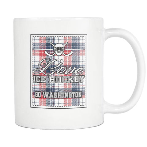Love Hockey Go Washington Fan Gifts Checkered Plaid Cool White 11oz Coffee Mug-NeatFind.net
