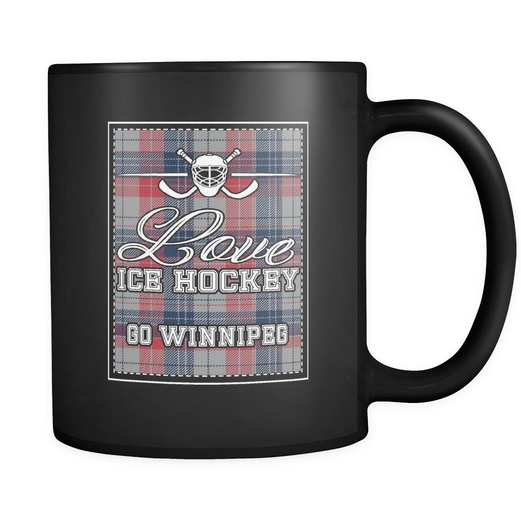 Love Hockey Go Winnipeg Fan Gifts Checkered Plaid Cool Black 11oz Coffee Mug-NeatFind.net