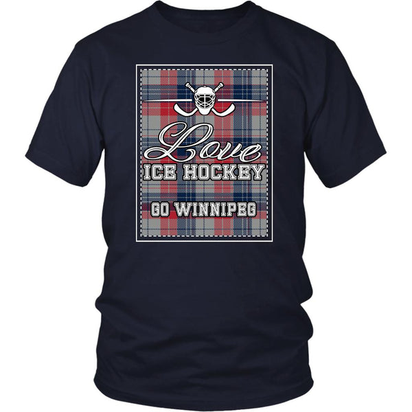 Love Hockey Go Winnipeg Fan Gifts Checkered Plaid Cool Unisex TShirt Men-NeatFind.net