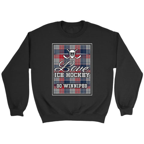 Love Hockey Go Winnipeg Fan Gifts Checkered Plaid Unisex Sweaters Sweatshirt-NeatFind.net