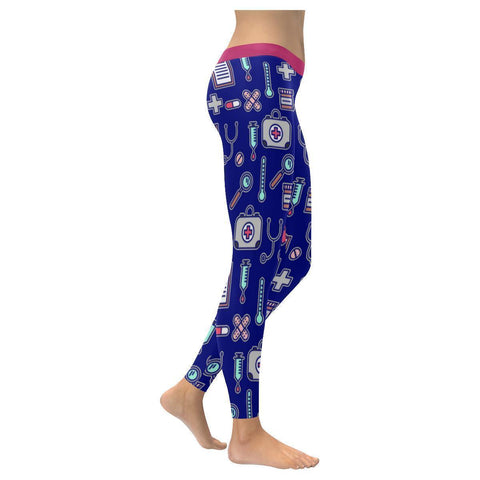 Love Nurse Cute Pattern UPF40+ Moisture Wicking Non See Through Womens Leggings-NeatFind.net