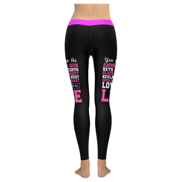 Love Of My Life Police UPF40+ Moisture Wicking Non See Through Womens Leggings-NeatFind.net