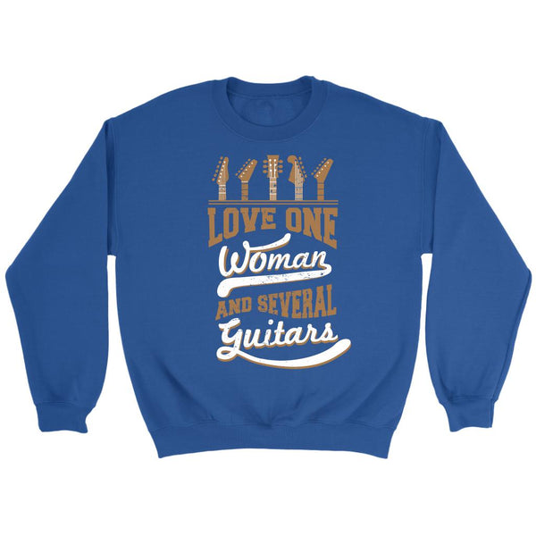 Love One Woman And Several Guitars Cool Funny Awesome Unique Guitarist Unisex Crewneck Sweatshirt For Women & Men-NeatFind.net