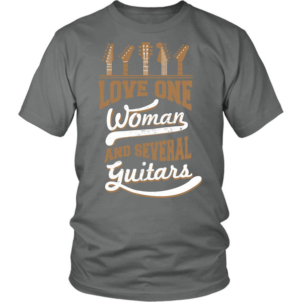 Love One Woman And Several Guitars Cool Funny Awesome Unique Guitarist Unisex T-Shirt For Women & Men-NeatFind.net