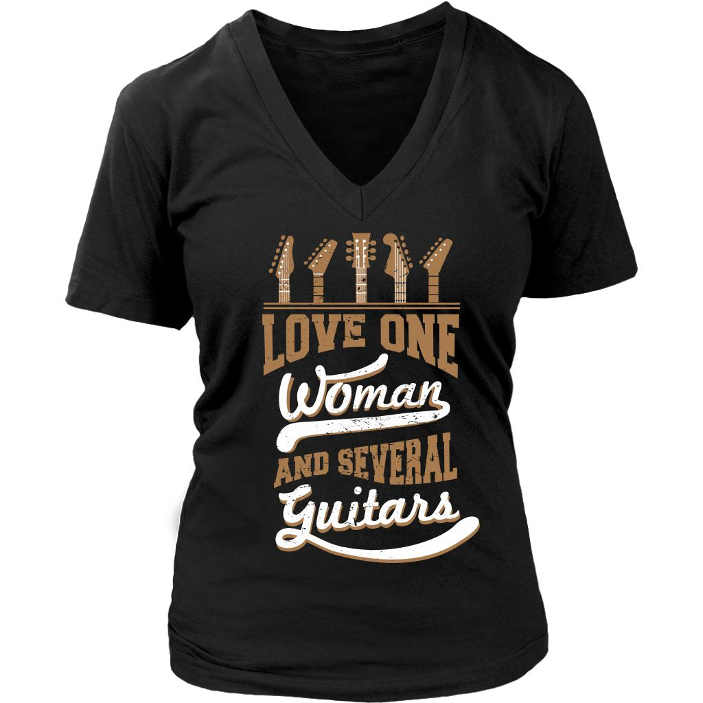Love One Woman And Several Guitars Cool Funny Awesome Unique Guitarist V-Neck T-Shirt For Women-NeatFind.net